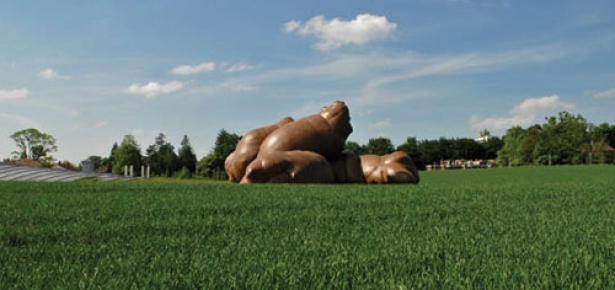 A modern sculpture of a giant dog poo