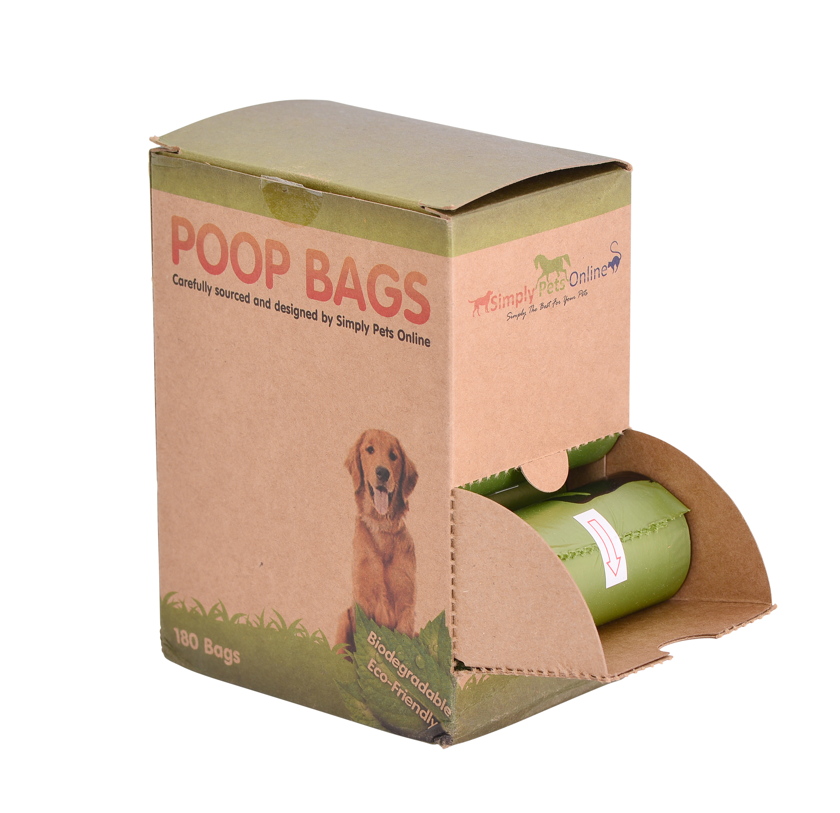 A degradable dog poop bag, shown inside the carton it comes in, 180 bags in a box on 12 rolls