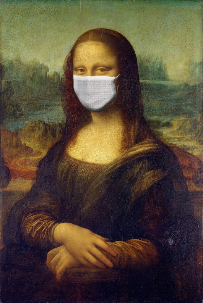 Image of the mona lisa with a surgical mask on